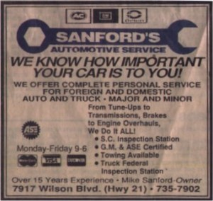 Sanford's Auto Newspaper Ad in The State in Columbia South Carolina