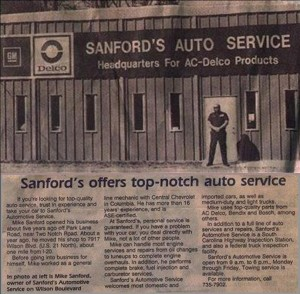 Sanford's Auto Newspaper article in The State in Columbia South Carolina