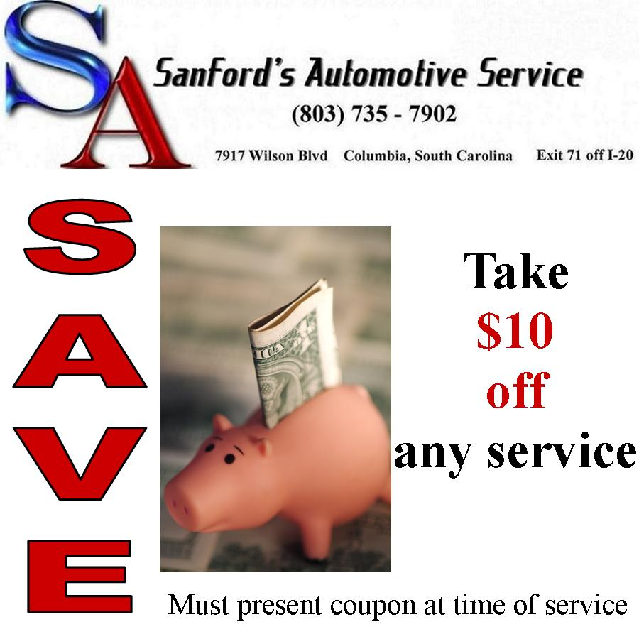 Save $10 Now at Sanford's Auto Service!