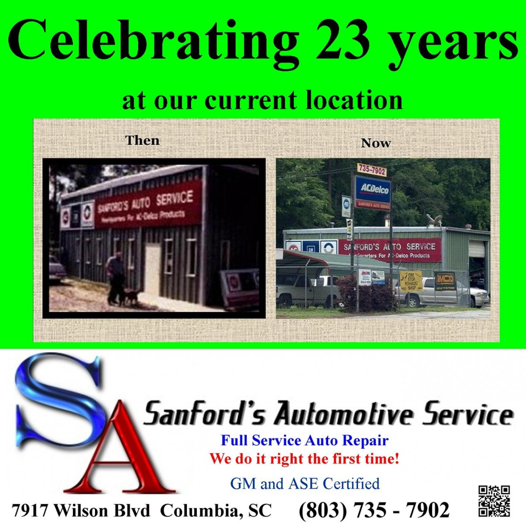 Celebrating 23 Years of Auto Repair and Service at the same Columbia, SC location